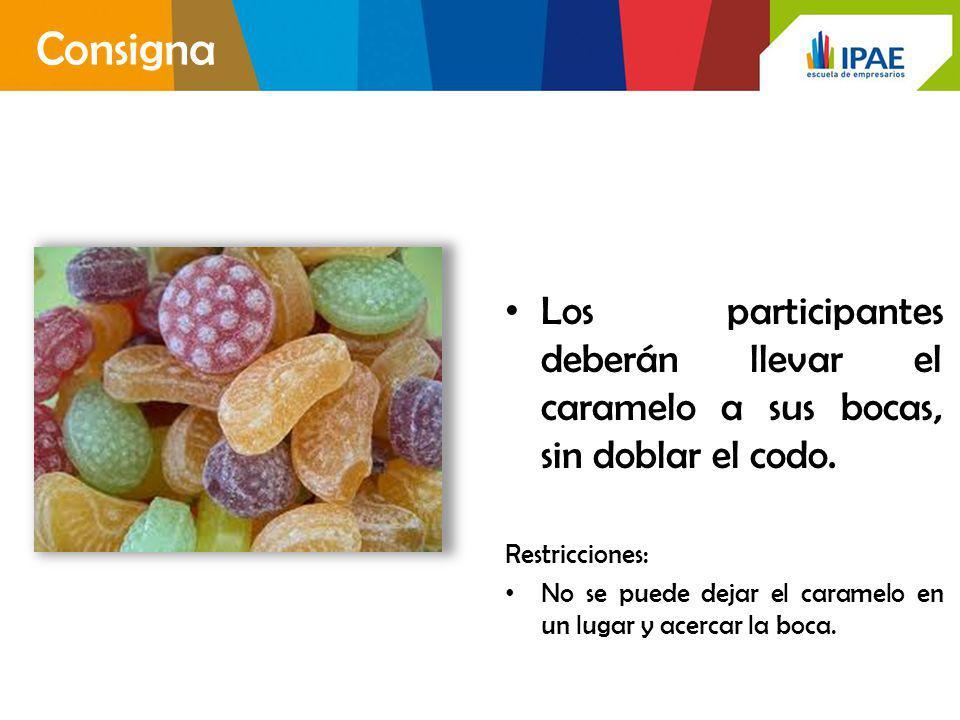 Consigna Los participantes deberán llevar el caramelo a sus bocas, sin doblar el codo. Restricciones:
