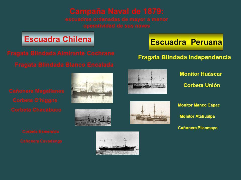 Campaña Naval de 1879: escuadras ordenadas de mayor a menor operatividad de sus naves