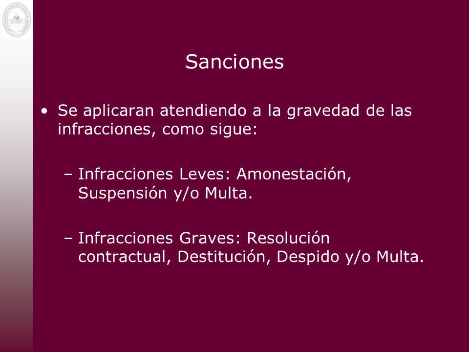 Sanciones Se aplicaran atendiendo a la gravedad de las infracciones, como sigue: Infracciones Leves: Amonestación, Suspensión y/o Multa.