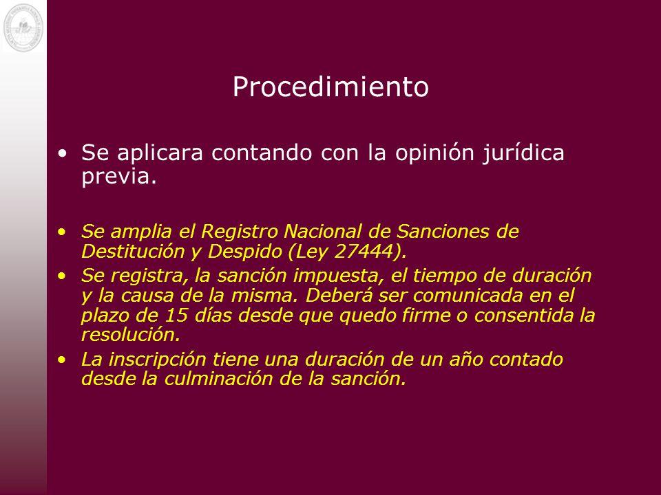 Procedimiento Se aplicara contando con la opinión jurídica previa.