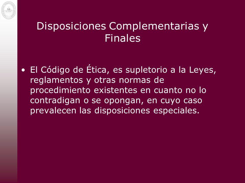 Disposiciones Complementarias y Finales