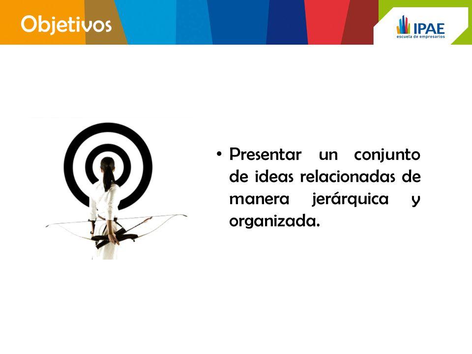 Objetivos Presentar un conjunto de ideas relacionadas de manera jerárquica y organizada.