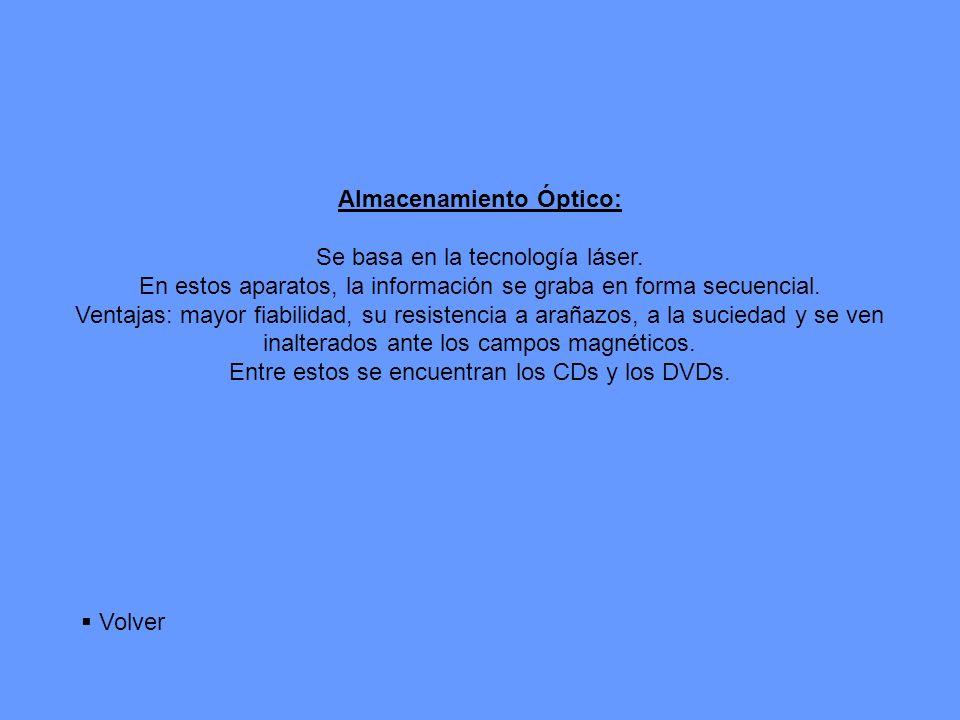 Almacenamiento Óptico: Se basa en la tecnología láser.