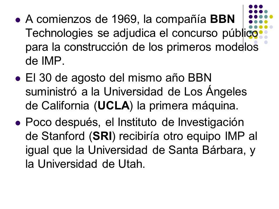 A comienzos de 1969, la compañía BBN Technologies se adjudica el concurso público para la construcción de los primeros modelos de IMP.