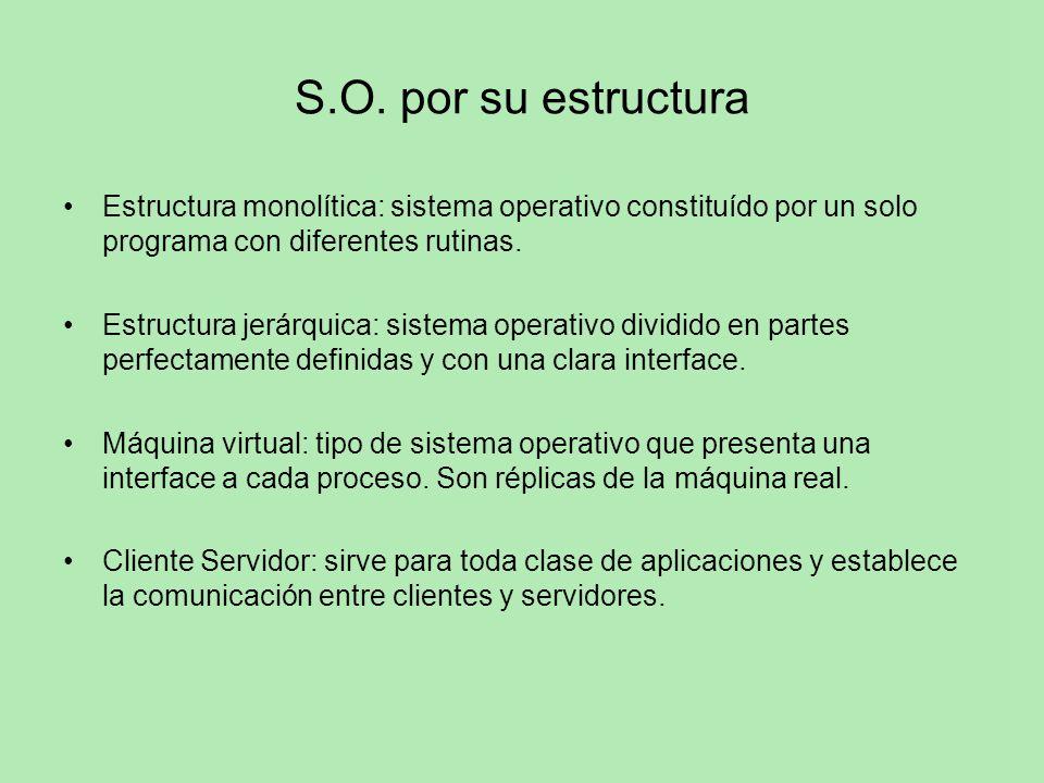 S.O. por su estructura Estructura monolítica: sistema operativo constituído por un solo programa con diferentes rutinas.