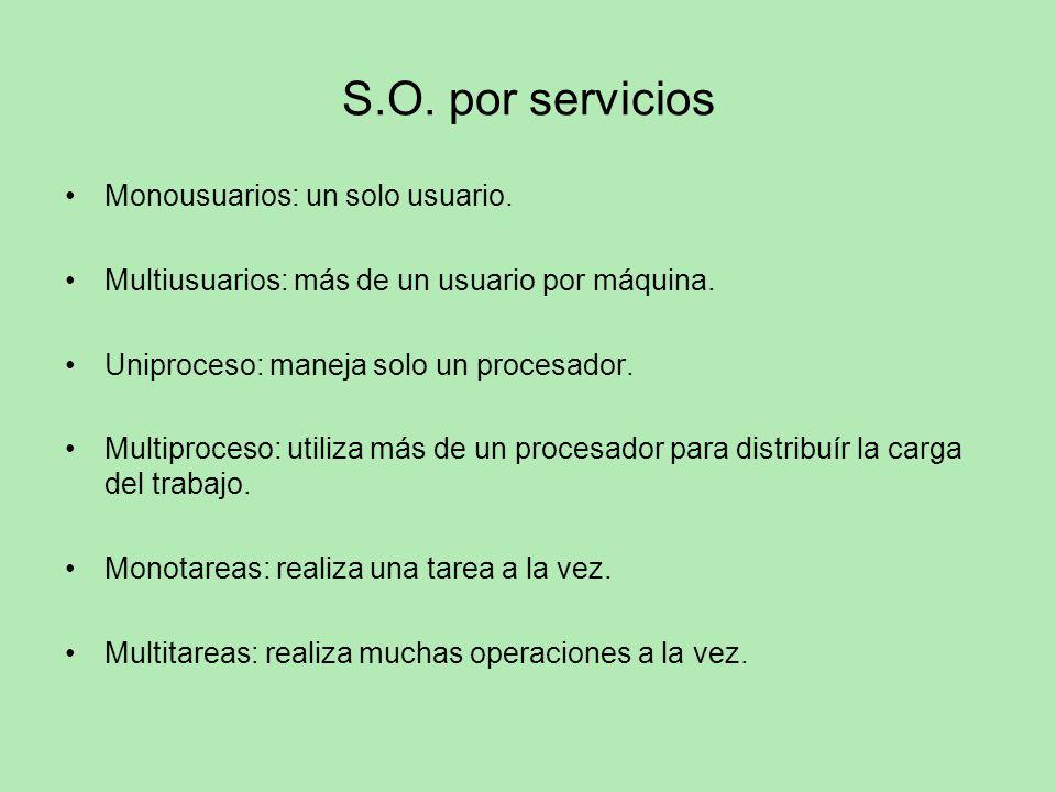 S.O. por servicios Monousuarios: un solo usuario.