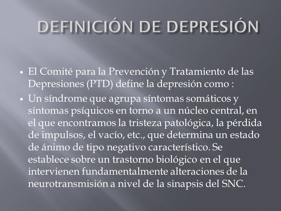 DEFINICIÓN DE DEPRESIÓN
