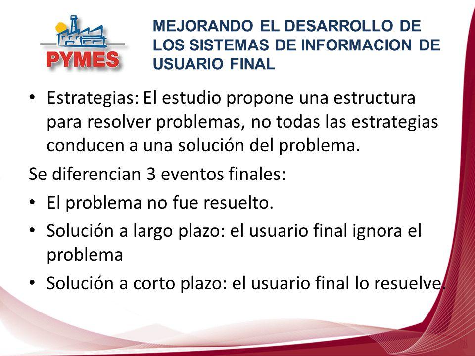 Se diferencian 3 eventos finales: El problema no fue resuelto.