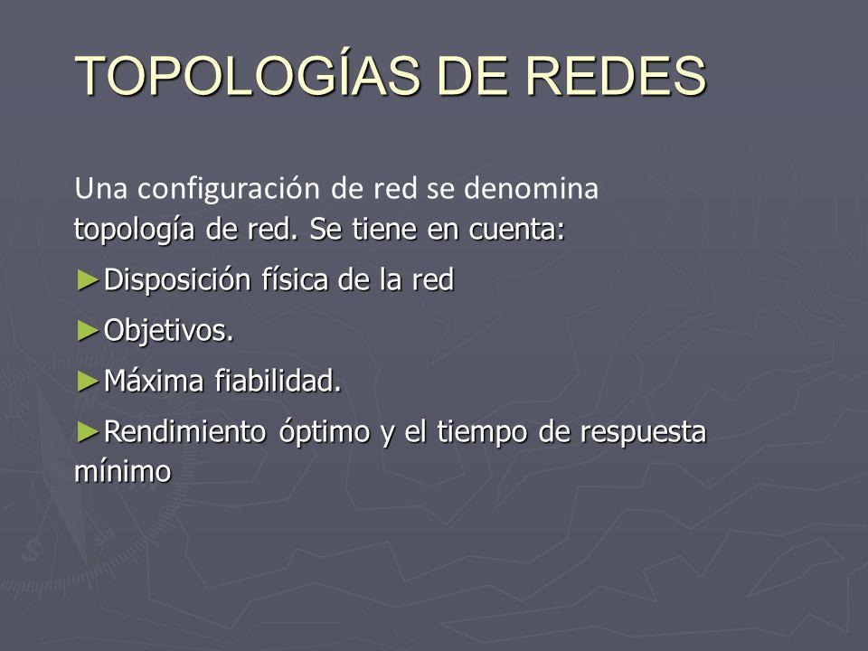TOPOLOGÍAS DE REDES Una configuración de red se denomina topología de red. Se tiene en cuenta: Disposición física de la red.