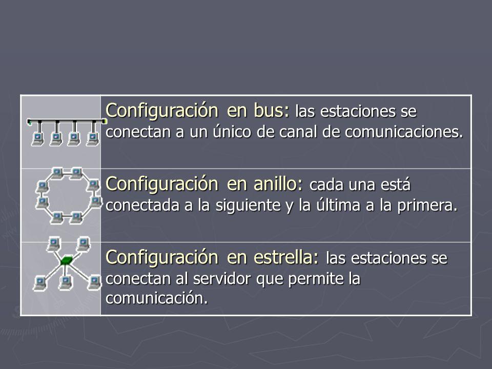 Configuración en bus: las estaciones se conectan a un único de canal de comunicaciones.