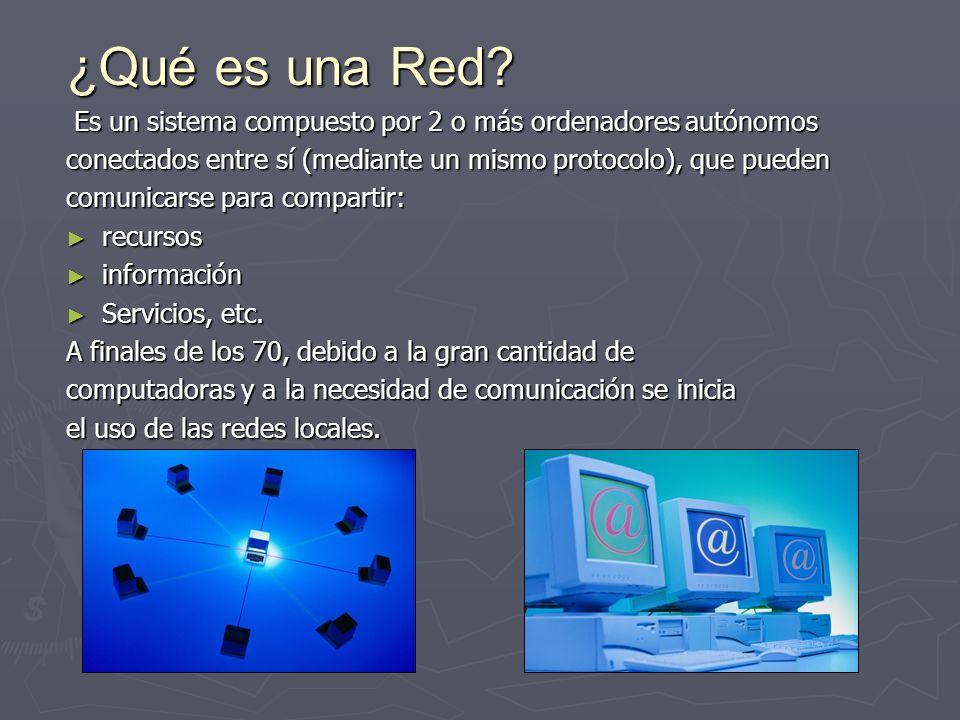 ¿Qué es una Red Es un sistema compuesto por 2 o más ordenadores autónomos. conectados entre sí (mediante un mismo protocolo), que pueden.