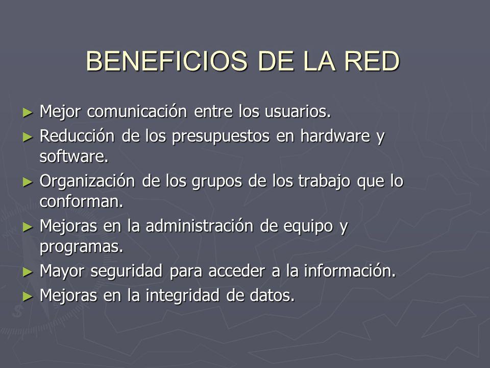 BENEFICIOS DE LA RED Mejor comunicación entre los usuarios.