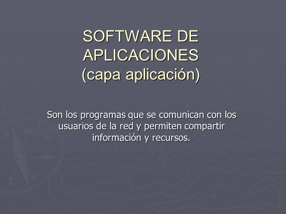 SOFTWARE DE APLICACIONES (capa aplicación)