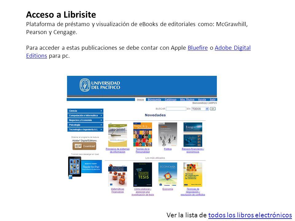 Acceso a Librisite Ver la lista de todos los libros electrónicos