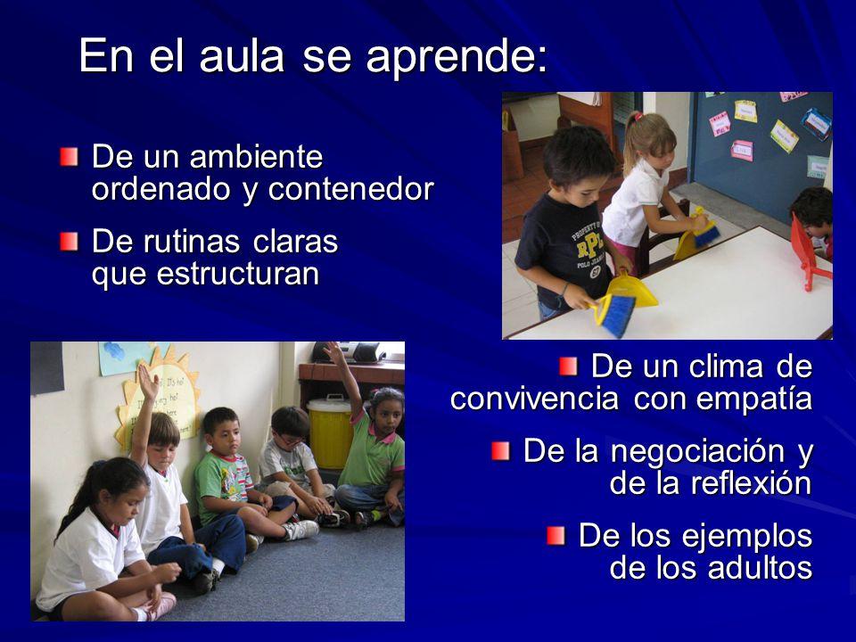 En el aula se aprende: De un ambiente ordenado y contenedor