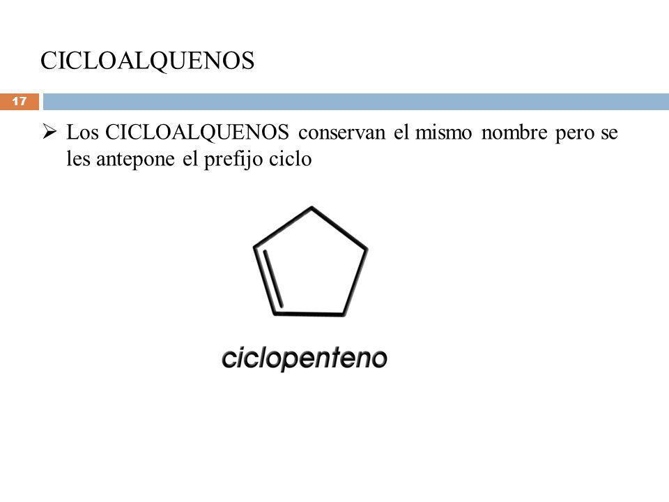CICLOALQUENOS Los CICLOALQUENOS conservan el mismo nombre pero se les antepone el prefijo ciclo