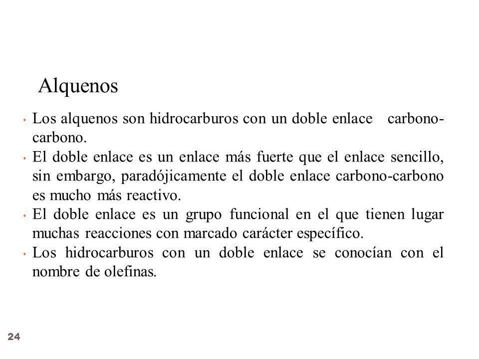 Alquenos Los alquenos son hidrocarburos con un doble enlace carbono-carbono.