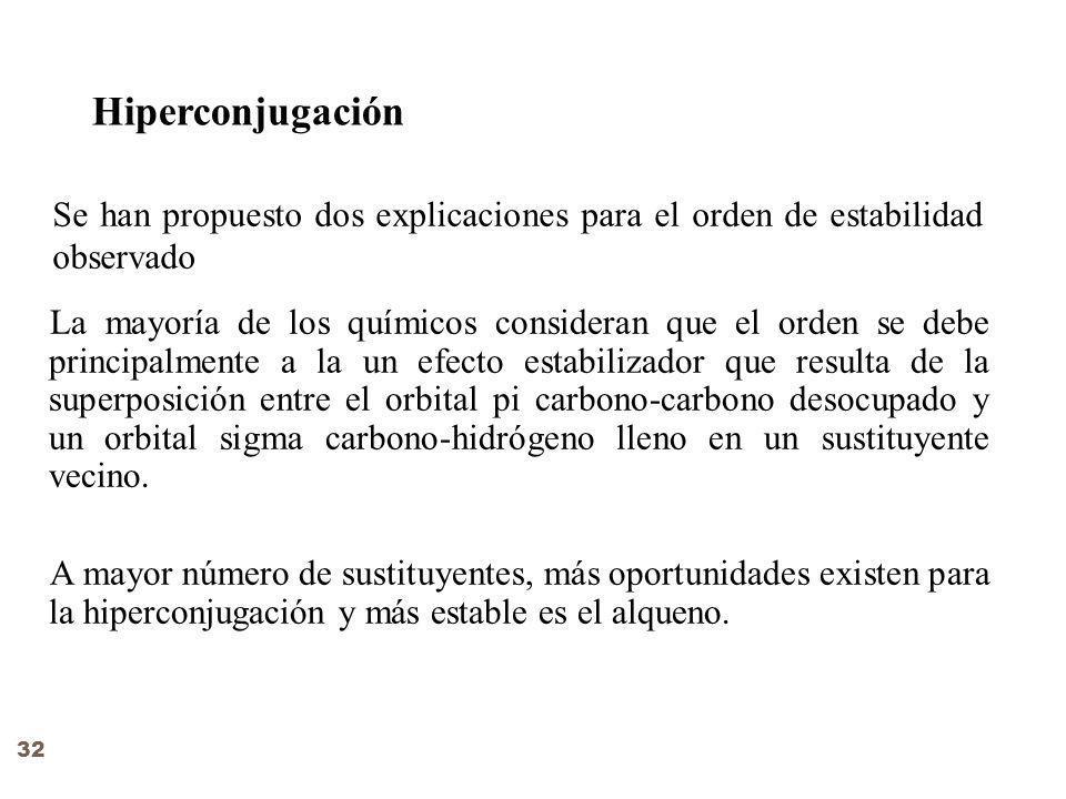 Hiperconjugación Se han propuesto dos explicaciones para el orden de estabilidad observado.