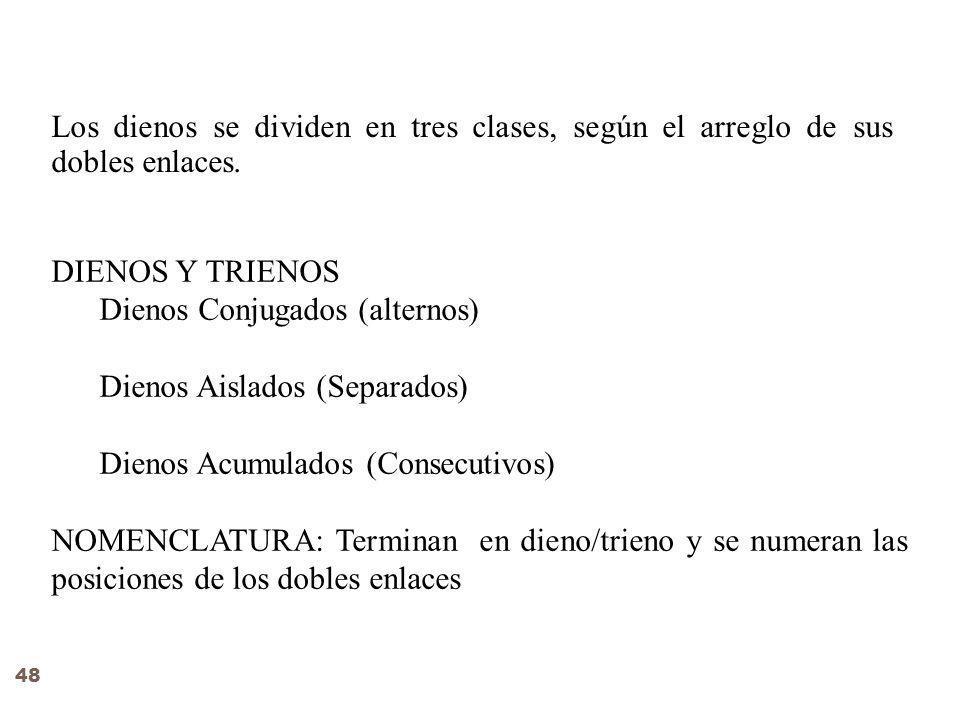 Los dienos se dividen en tres clases, según el arreglo de sus dobles enlaces.
