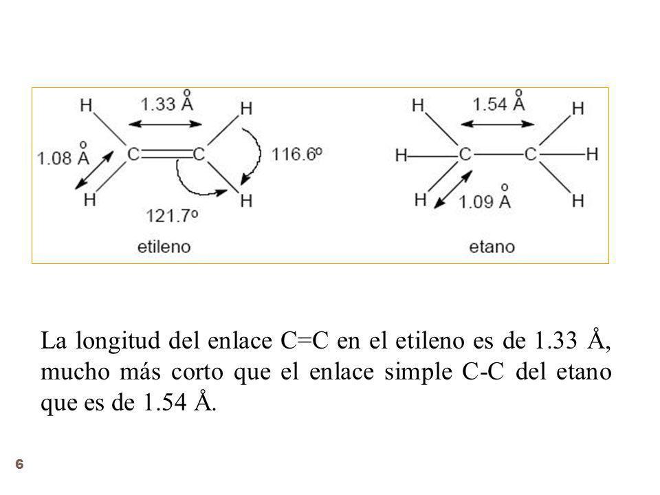 La longitud del enlace C=C en el etileno es de 1