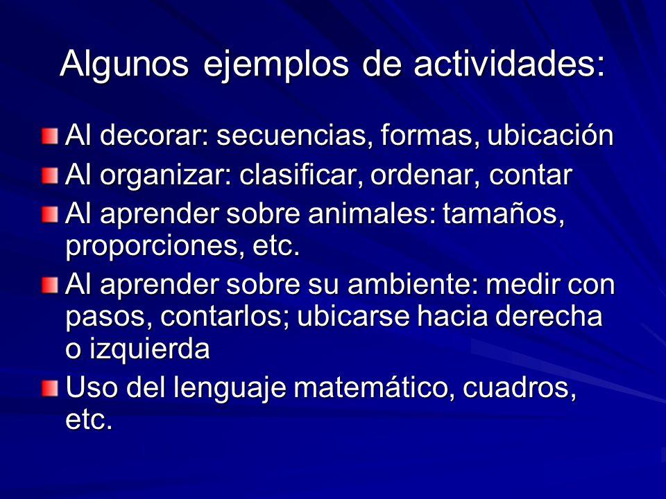 Algunos ejemplos de actividades: