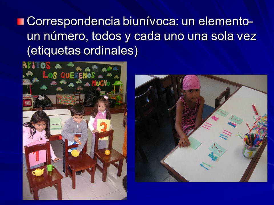 Correspondencia biunívoca: un elemento-un número, todos y cada uno una sola vez (etiquetas ordinales)