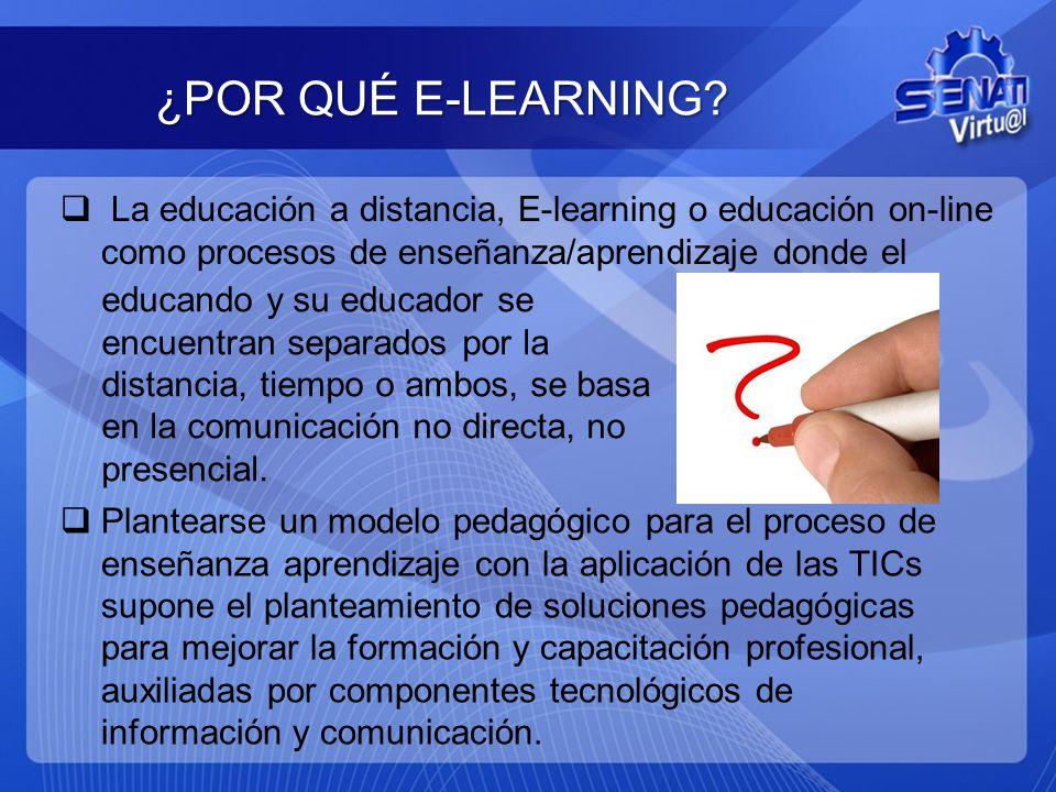 ¿POR QUÉ E-LEARNING La educación a distancia, E-learning o educación on-line como procesos de enseñanza/aprendizaje donde el.