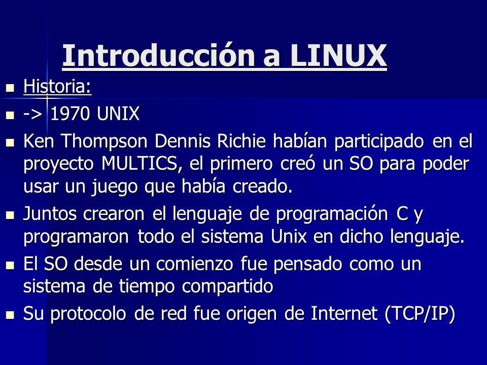 Introducción a LINUX Historia: -> 1970 UNIX