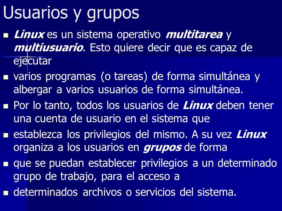 Usuarios y grupos Linux es un sistema operativo multitarea y multiusuario. Esto quiere decir que es capaz de ejecutar.