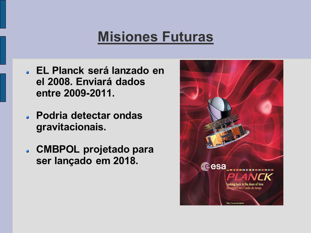 Misiones Futuras EL Planck será lanzado en el 2008. Enviará dados entre 2009-2011. Podria detectar ondas gravitacionais.