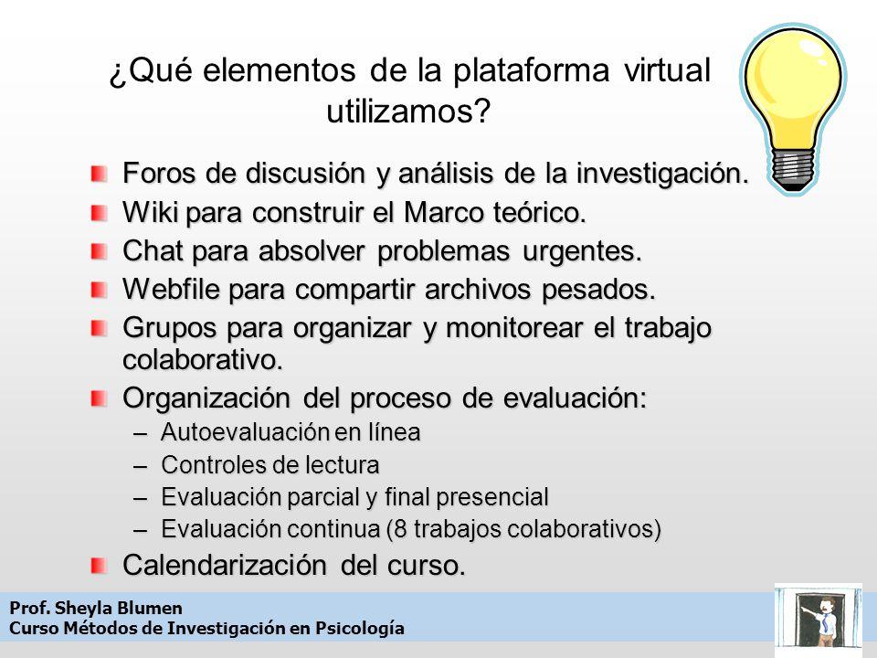 ¿Qué elementos de la plataforma virtual utilizamos