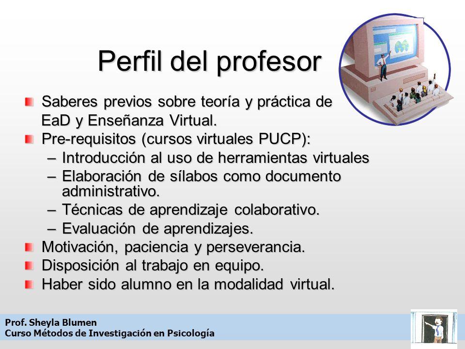 Perfil del profesor Saberes previos sobre teoría y práctica de