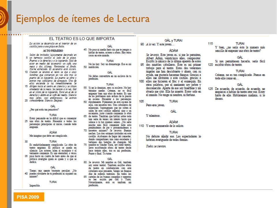 Ejemplos de ítemes de Lectura