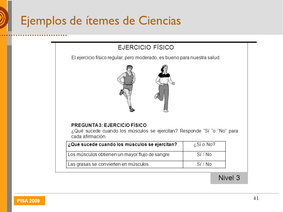 Ejemplos de ítemes de Ciencias