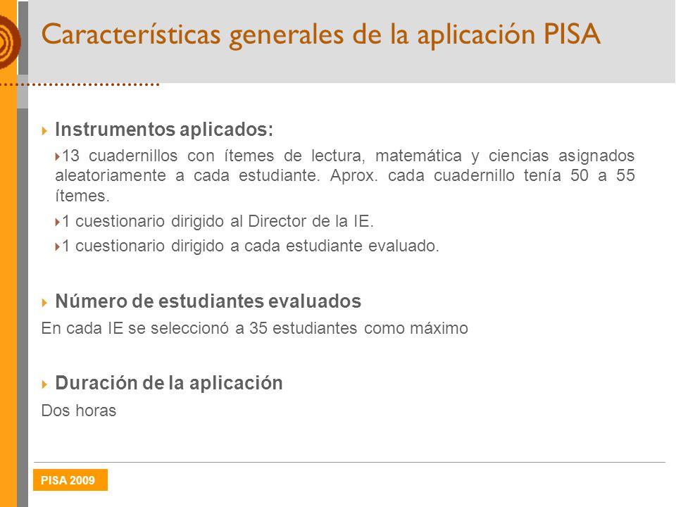 Características generales de la aplicación PISA
