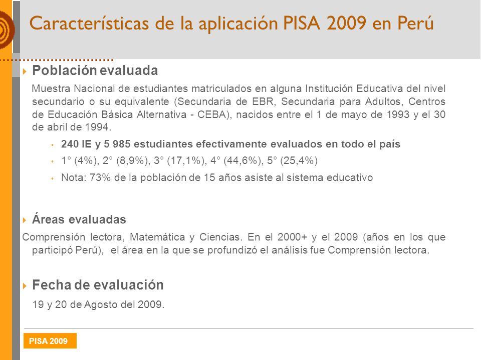 Características de la aplicación PISA 2009 en Perú