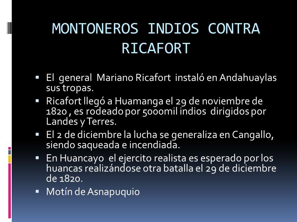 MONTONEROS INDIOS CONTRA RICAFORT