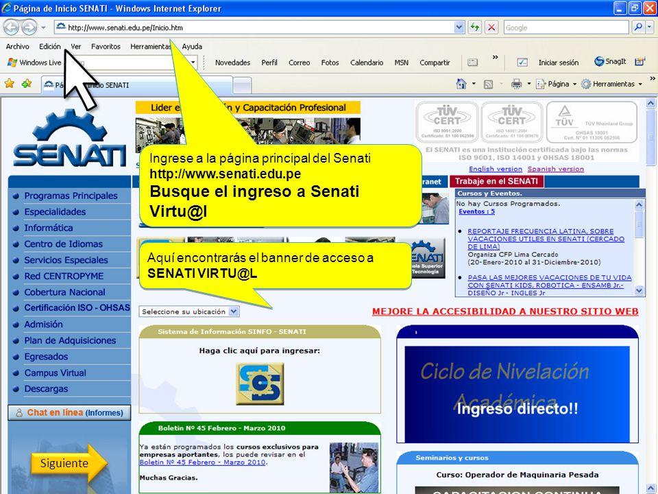 Busque el ingreso a Senati Virtu@l