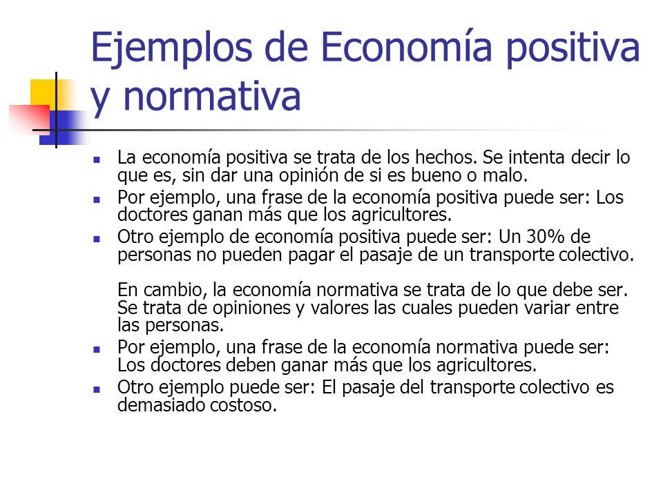 Ejemplos de Economía positiva y normativa