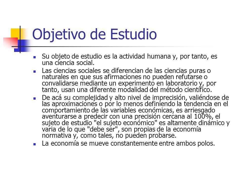 Objetivo de Estudio Su objeto de estudio es la actividad humana y, por tanto, es una ciencia social.