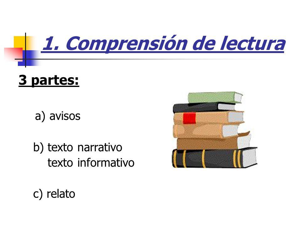 1. Comprensión de lectura