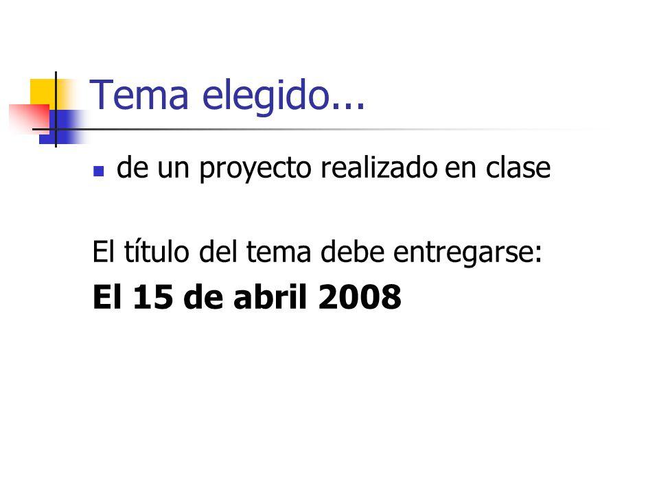 Tema elegido... El 15 de abril 2008 de un proyecto realizado en clase