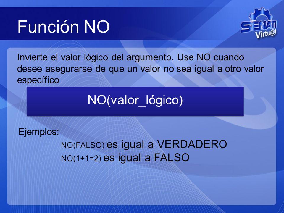 Función NO NO(valor_lógico)