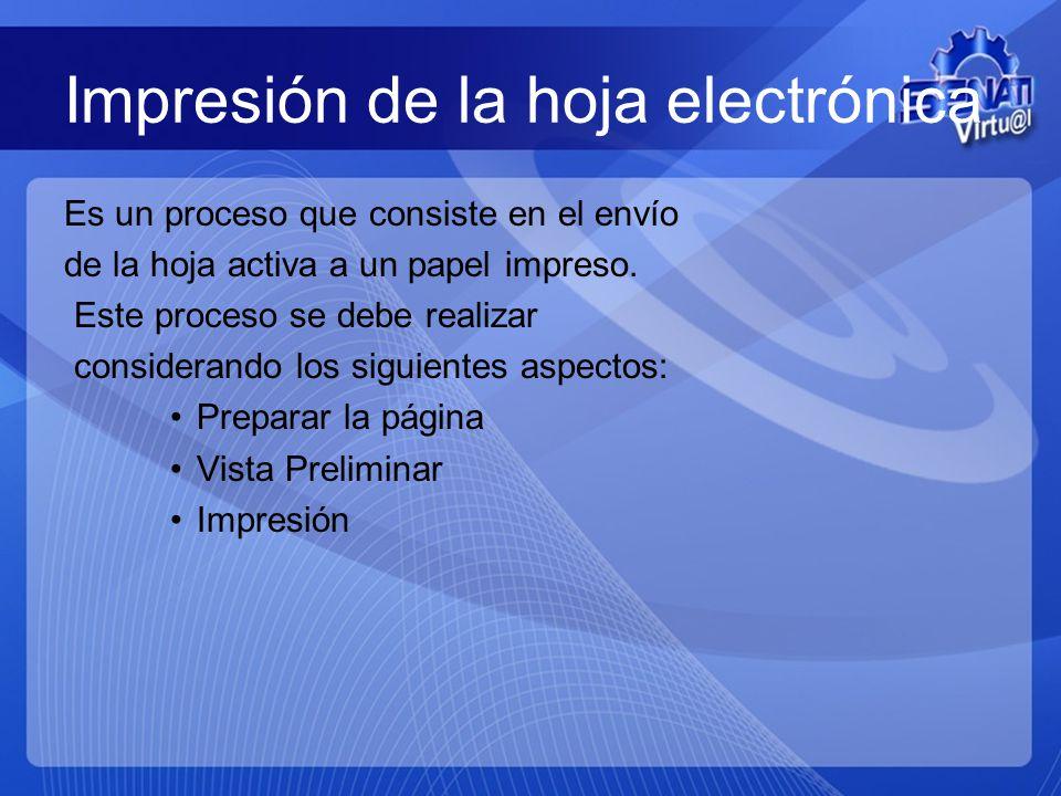 Impresión de la hoja electrónica