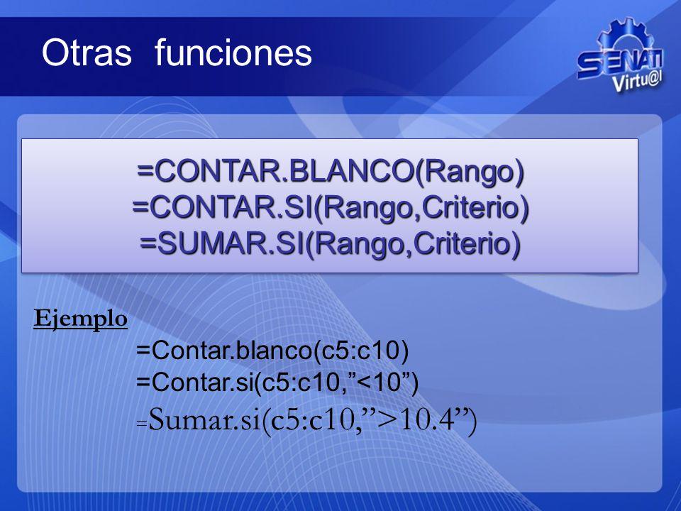 Otras funciones =CONTAR.BLANCO(Rango) =CONTAR.SI(Rango,Criterio)