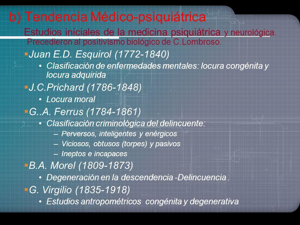 b) Tendencia Médico-psiquiátrica
