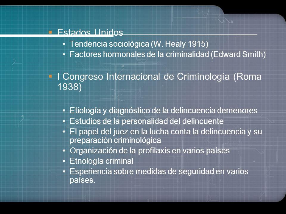 I Congreso Internacional de Criminología (Roma 1938)