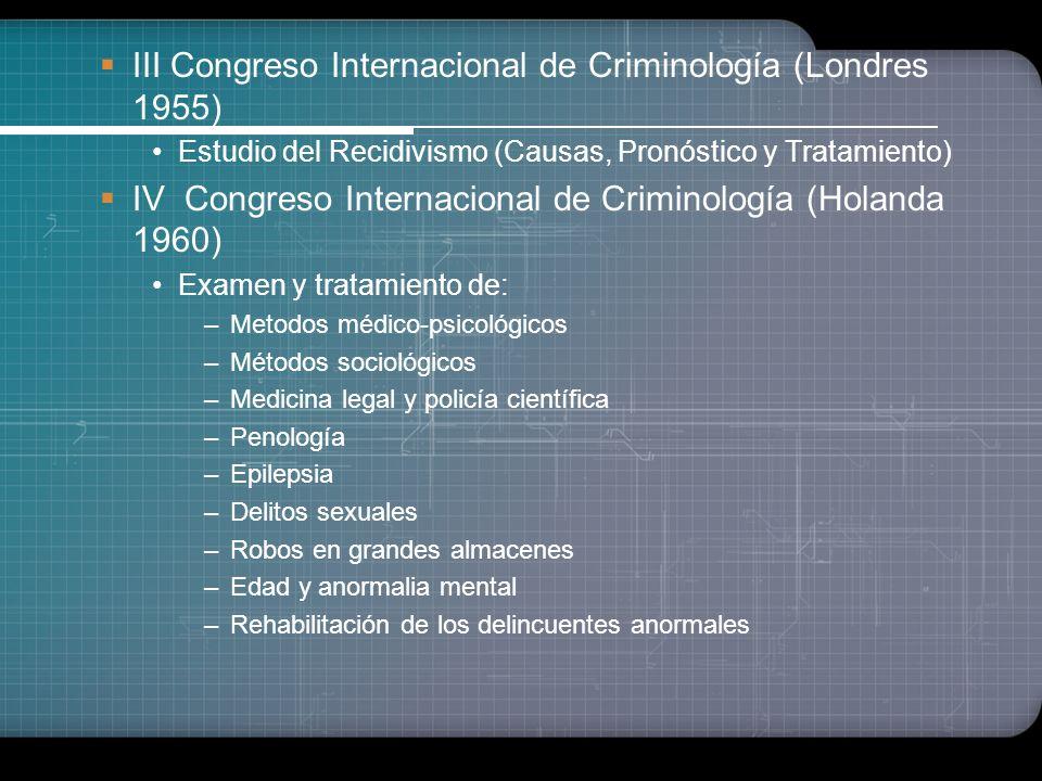III Congreso Internacional de Criminología (Londres 1955)