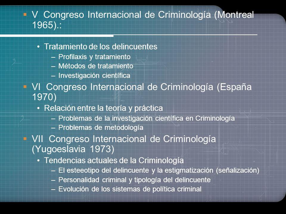 V Congreso Internacional de Criminología (Montreal 1965).: