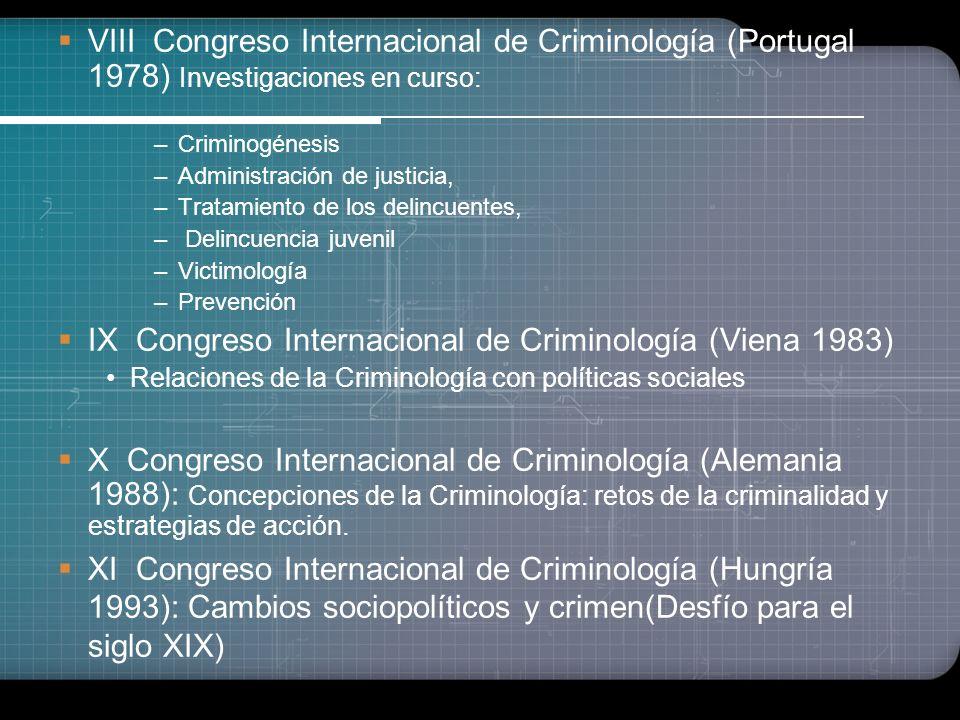 IX Congreso Internacional de Criminología (Viena 1983)